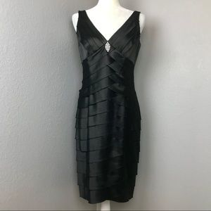 Jones Wear Black Tiered Cocktail Dress